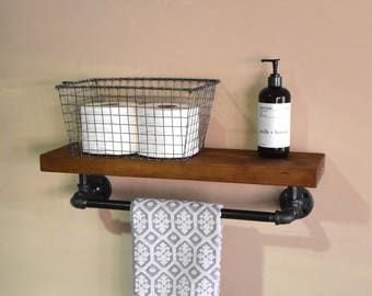 Bathroom Floating Shelve Towel Rack Industrial Shelf With Bar Rustic