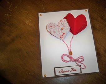 card with two pretty hearts
