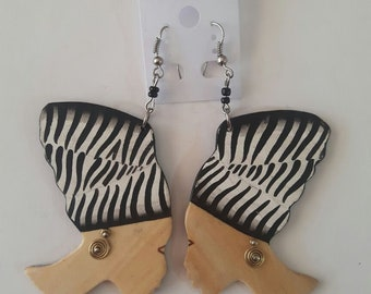 african earrings / wooden earrings / tribal earrings / maasai earrings