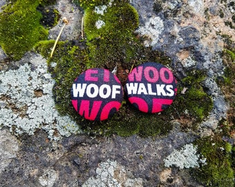 Black/Red/White Woof, Fetch, and Walk, Paws of Love Dog Mom Button Earrings