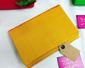Yellow  Mustard Raw Silk Foldover Clutch Bag Summer Handbag Dupion Silk made in sheffield