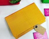 Yellow  Mustard Raw Silk Foldover Clutch Bag Summer Handbag Dupion Silk made in sheffield