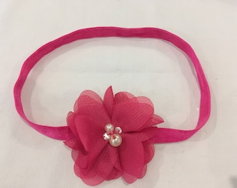 Elastic headband with flower for babies and children