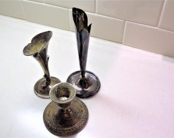 Vintage Sterling Silver Candle Holder - 2 Silver Plate Bud Vases - Heavy Tarnish Patina