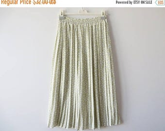 CIJ SALE Vintage 80s Floral Pleated Skirt Light Yellow Skirt Accordion Skirt Elastic Waist Skirt Floral Midi Skirt Silky Summer Skirt Medium