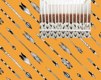 Geometric Crib Skirt Aztec Crib Skirt Straight Ruffled Crib Skirt Aztec Crib Bedding Aztec Nursery Arrows Nursery Red Black Gray Mustard