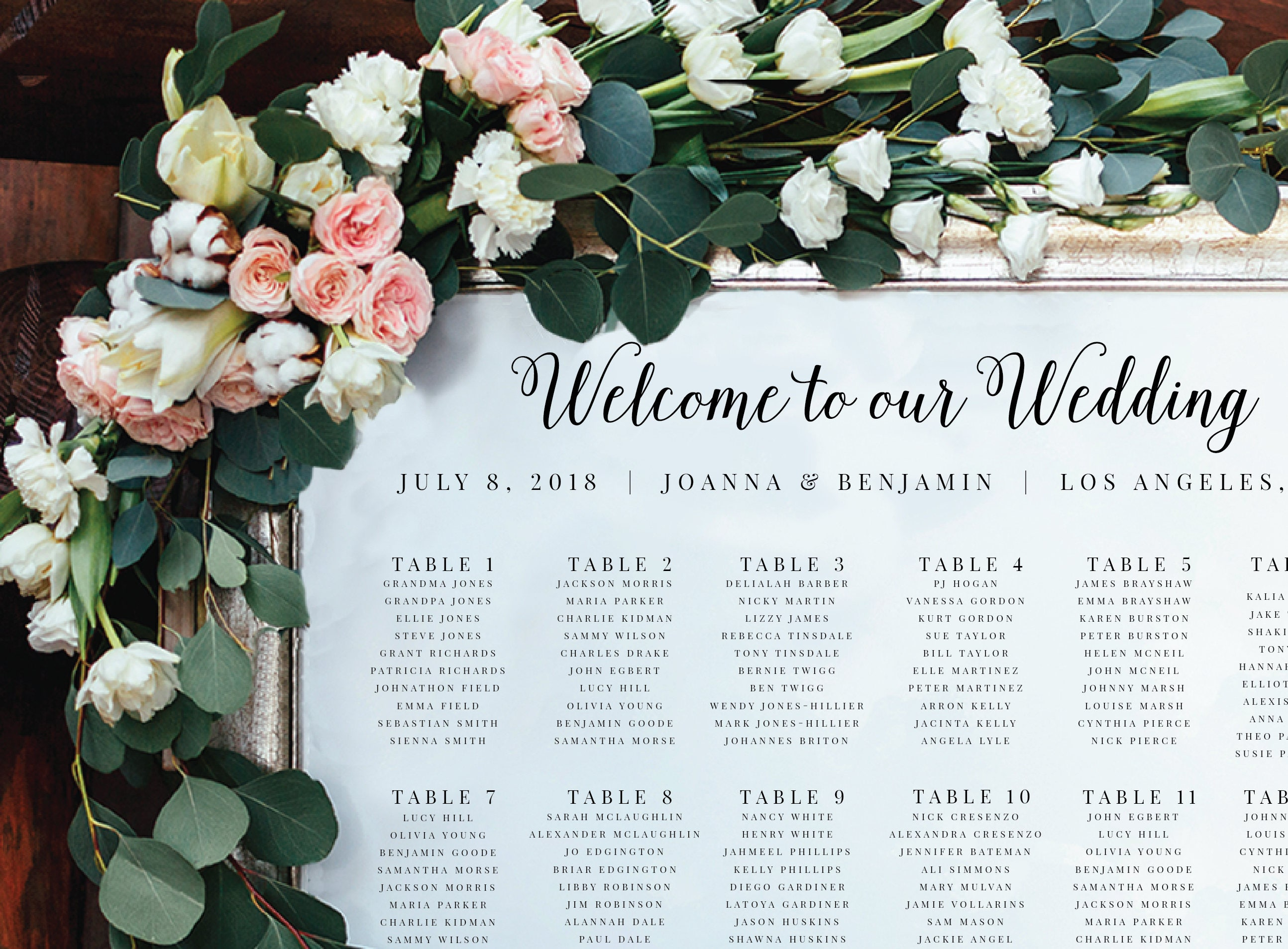 Wedding Seating Chart-Instant Download-Alphabetical-Seating Sign-DIY ...