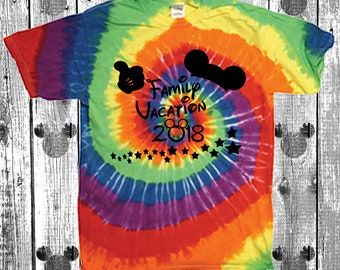 Walt Disney World matching family vacation matching t shirts tee shirt tie dye multi color rainbow magic kingdom epcot hollywood studios