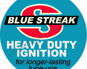 Reproduction Blue Streak - Heavy Duty Ignition Products Round Metal Sign