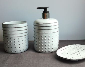 """Set in the bathroom """"geometry"""".Ceramics And Pottery. pottery in the interior."""