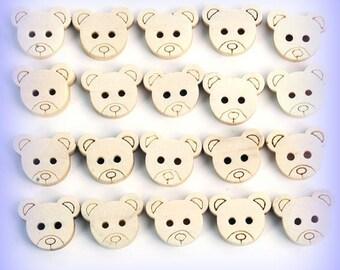 Teddy Bear Cute Natural Wood Wooden 11mm Craft Buttons Set of 20