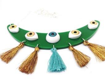 Necklace eye eye eye curio cabinet Anatomy and tassels