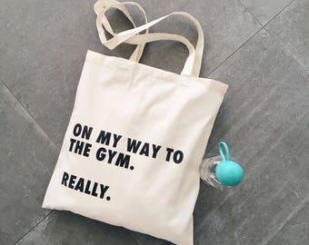 Gym Bag - Sport - Canvas Bag - Canvas Tote - Natural Canvas Tote Bag - Letter Bag - Market - Shopping Bag - Quote - Gym bag