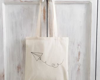 Illustrated tote bag, canvas bag, paper plane, drawing, market bag, yoga bag, cotton, baumwoll, gift for her