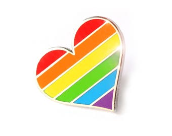 Pride pin, Rainbow heart enamel pin, lapel pin, LGBTQ pin, Gay accessories, Support LGBT pin, rainbow enamel pin