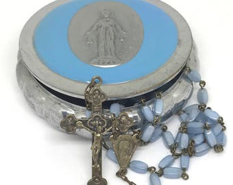 Antique Blue Glass Bead Rosary with Metal Rosary Case, Blue Prayer Beads, Immaculate Medal Rosary Case, Catholic Rosary, Stamped Italy