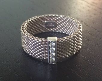 WOW!!! Dynamic Tiffany & Co Sterling Silver Somerset Mesh Four Diamond Ring - Size 6-7