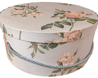 Large Hat Box in Blue Floral, Ready to ship! Round Box, French Cottage Decor, Fabric Covered Box, Box w Lid, Keepsake Box, Decorative Box