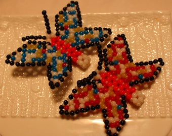 Twin colorful beaded butterflies; handmade, beadweaving, cute, Art & collectibles, Figurines and Knick Knacks