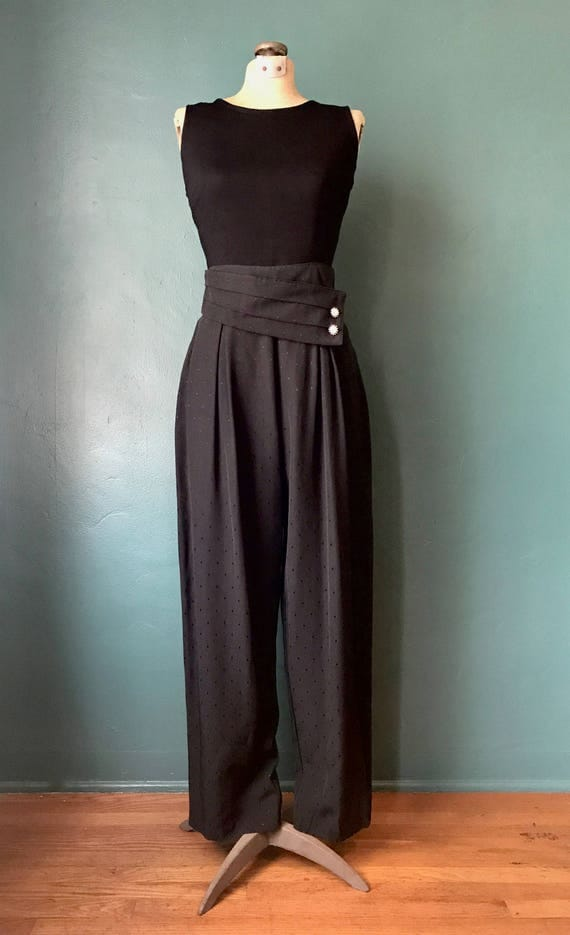 Rockabilly Pants. High Waisted Trouser. Vintage Black Pants. Vintage High Waist. Black Trousers. High Waist Pants. Vintage Pants.