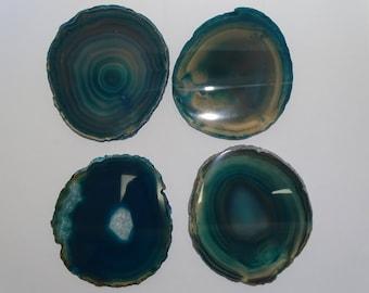 4 Piece LG.Polished Teal  Agate Slice Coaster Set #700B