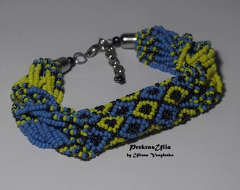 Patriotic ukrainian bracelet Ukrainsan necklace bracelet Ukrainian ornament Ukrainian pattern Ethnic jewelry Blue yellow Ukrainian flag