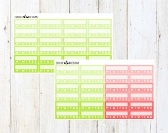 Green / Red Habit Checkers ( 24 Matte Planner Stickers )