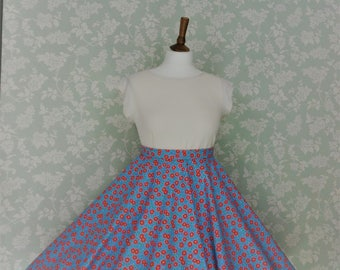 Blue & red circle skirt