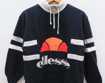 Vintage ELLESSE Big Logo Designer Black Pullover Sweatshirt Sweater Size XL