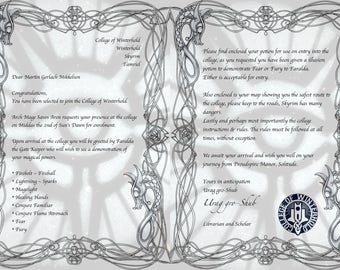 College of Winterhold Acceptance Letter, Map and Potion Bottle