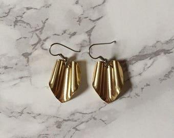 20% OFF SALE... golden origami earrings | pentagon srunched geometric origami