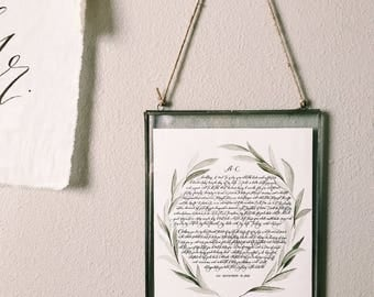 Custom Calligraphy print with glass frame