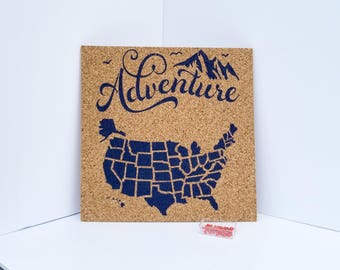 Adventure - Pinnable Cork Map of the USA or World - United States Travel Map / Bulletin Board