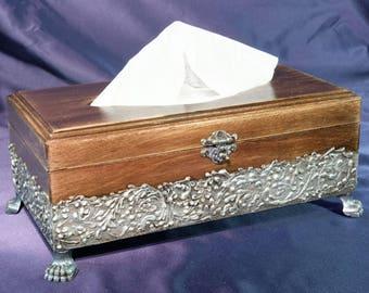 Tissue Box Wooden Tissue Box Decoupage Tissue Box Victorian Style Tissue Box Wood Tissue Holder Wooden Napkin Box Napkin Storage Box