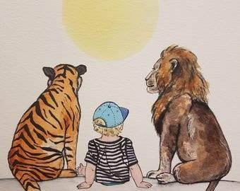 A4 print, Tiger, boy & Lion