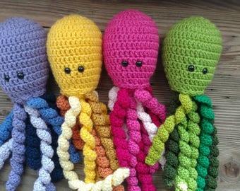 Crochet Jellyfish Octopus Newborn Premie Baby NICU Umbilical Cord Plush