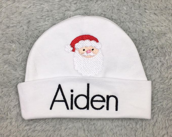 Monogrammed baby hat with Santa - custom preemie hat personalized newborn hat -baby Christmas clothes, preemie Christmas hat, NICU Christmas