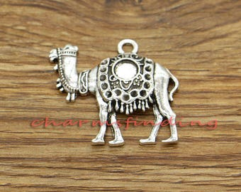 5pcs Large Camel Charms Desert Animal Charms Antique Silver Tone 35x31mm cf3301