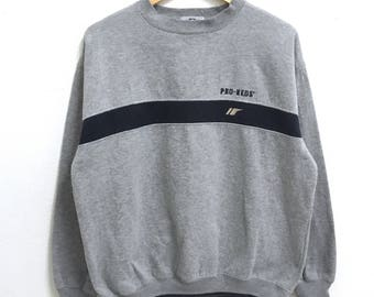 RARE!!! PRO KEDS Small Logo Embroidery Crew Neck Grey Colour Sweatshirts Hip Hop Swag L Size