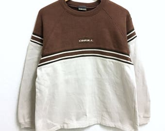 RARE!!! ONEILL Surf Hawaii Small Logo Embroidery Crew Neck Brown Colour Sweatshirts Hip Hop Swag L Size