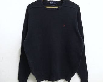 RARE!!! Polo Ralph Lauren Small Pony Embroidery Crew Neck Dark Blue Colour Knitwear Hip Hop Swag M Size
