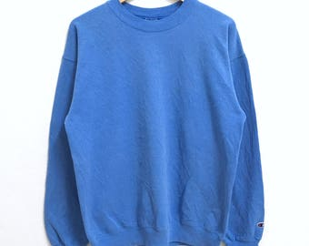 RARE!!! Champion Plain Crew Neck Blue Colour Sweatshirts Hip Hop Swag M Size