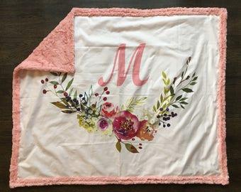 MONOGRAMMED Baby Blanket - baby gift, baby shower, stroller blanket, unique baby gift