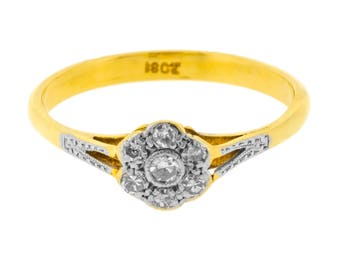 Elegant Floral Cluster Single Cut Diamond Ring in 18ct Yellow Gold (3018524)