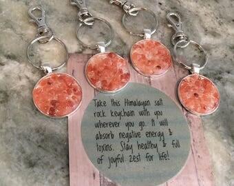 Himalayan salt rock keychain, positivity gift, nature keychain