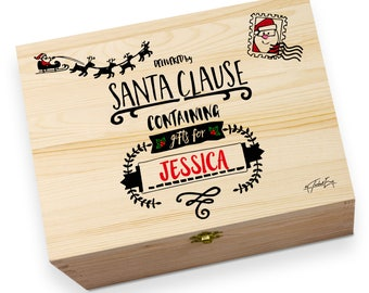 Personalised Delivered By Santa Large Rustic Printed Christmas Eve Box