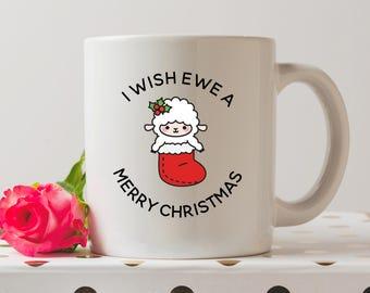 I Wish Ewe A Merry Christmas Mug | Sheep Mugs | Pun Mugs | Funny Mugs | Coffee Mug | Funny Quote | Stocking Filler | Secret Santa Gift