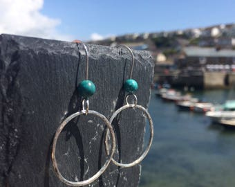 Circle Earrings with Turquoise Bead, Circle Earrings, Hoop Earrings, Geometric Earrings, Minimalist Earrings, Simple Earrings