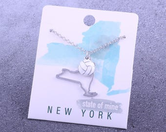 Customizable! State of Mine: New York Volleyball Enamel Necklace - Great Volleyball Gift!