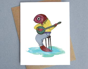 Fish and banjo music A2 greeting card blank